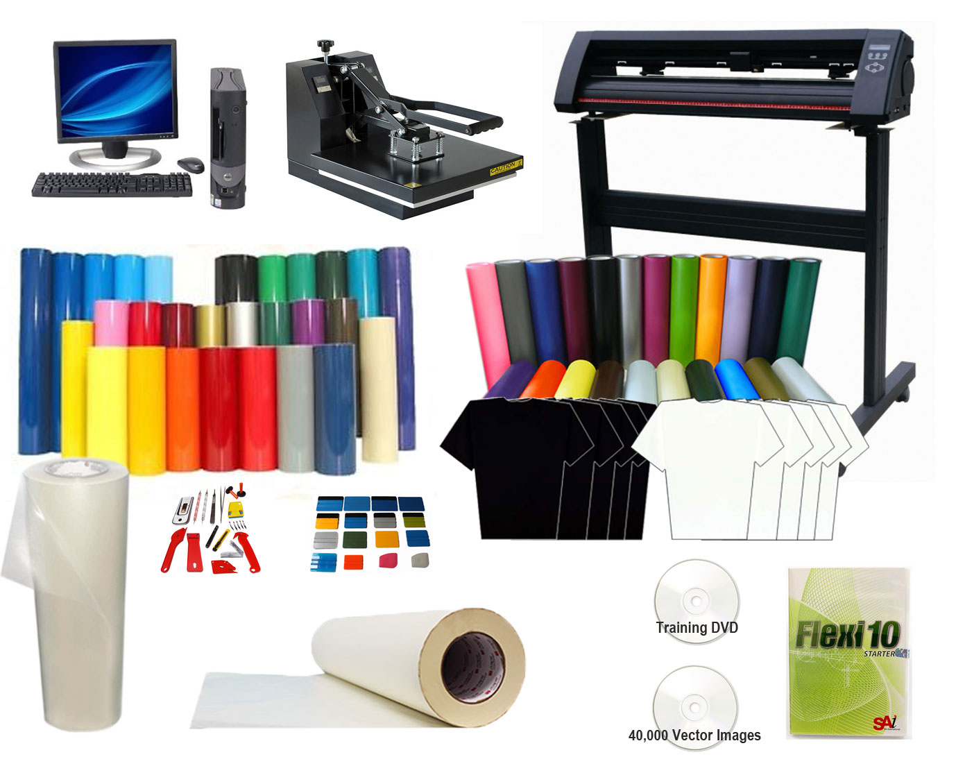 Complete T Shirt Printing Package Heat Press Amp Cutter